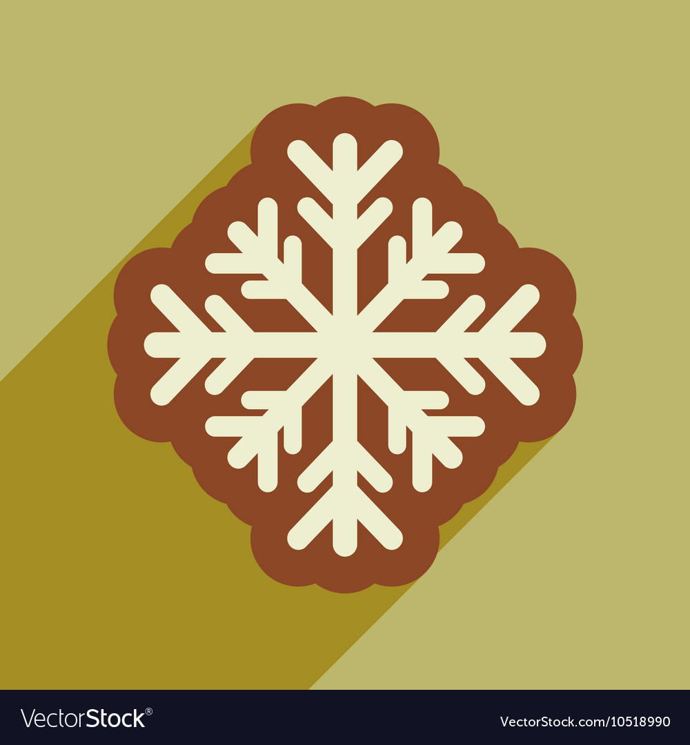Flat icon with long shadow winter snowflake