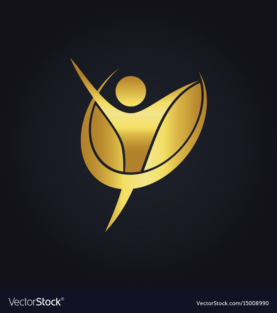 Success people happy fitness gold logo vector image