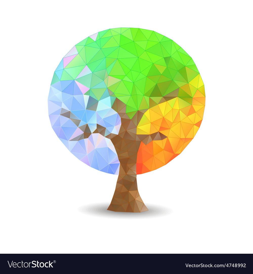 Crystal tree seasons vector image
