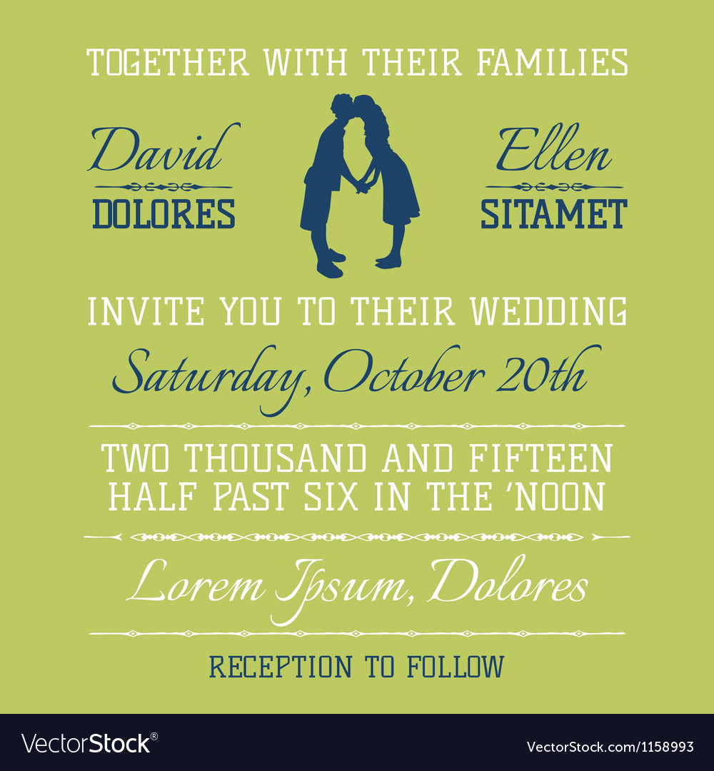 Wedding Invitation Card - Kissing Couple Theme vector image