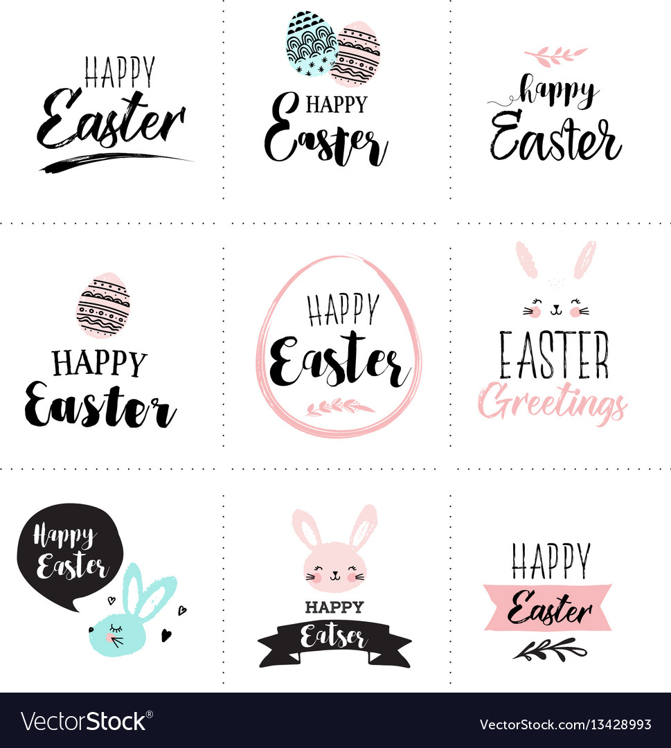 Happy easter greeting card poster with cute vector image