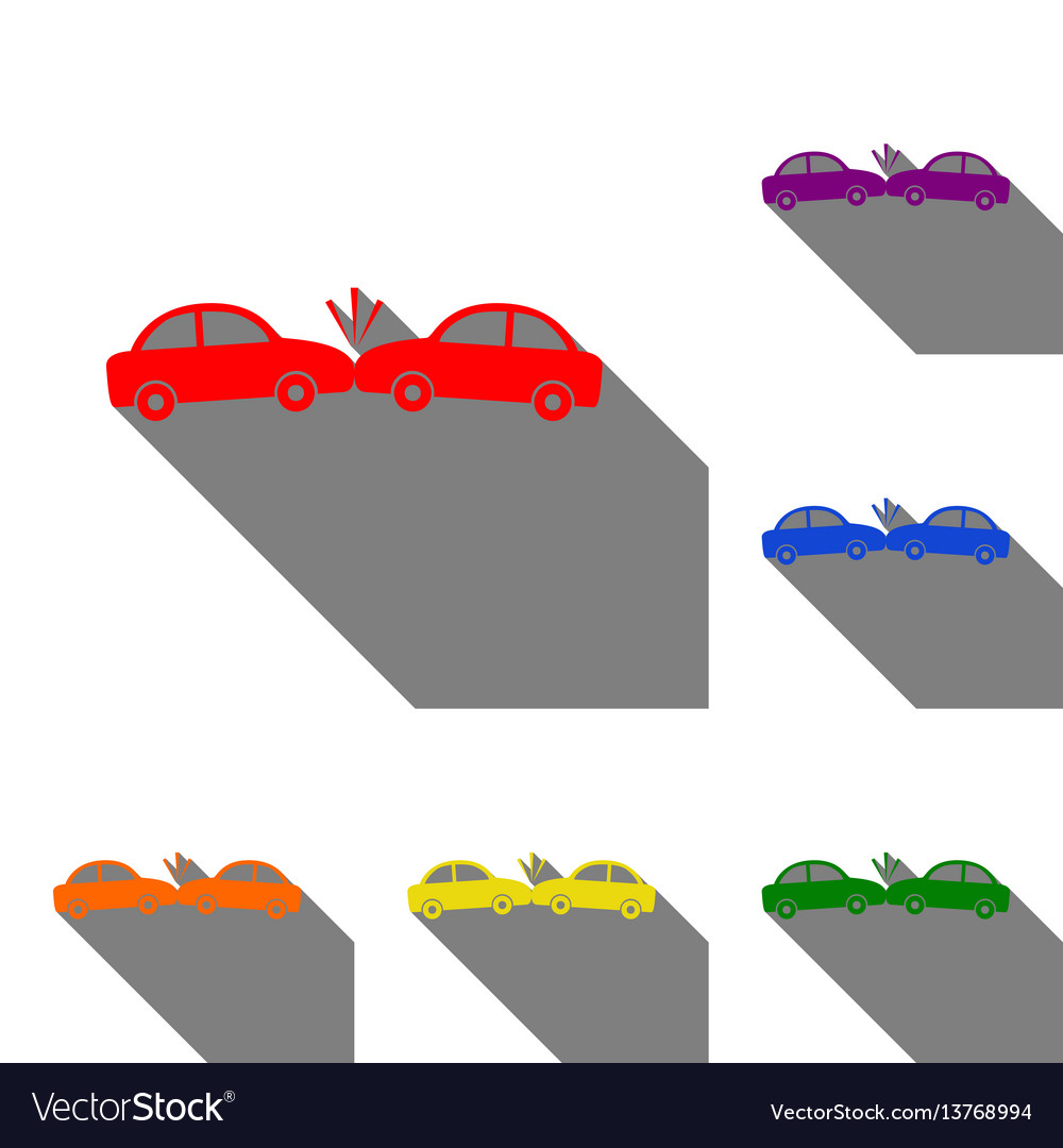 Crashed cars sign set of red orange yellow vector image