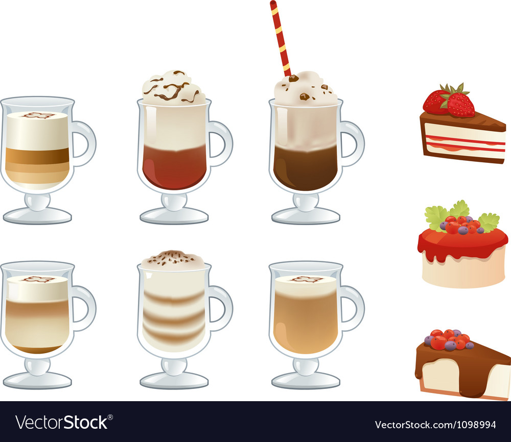 Set of coffee drinks and cakes vector image