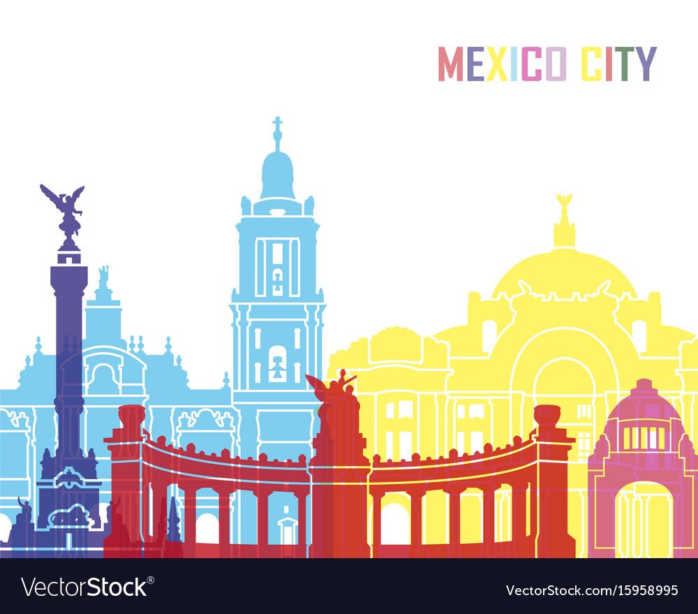 Mexico city skyline pop vector image