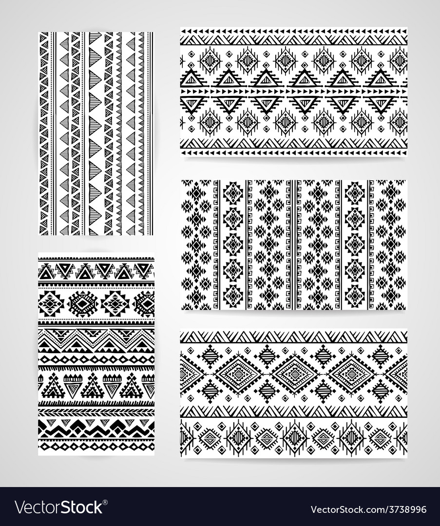 Set of business cards with tribal ornaments vector image