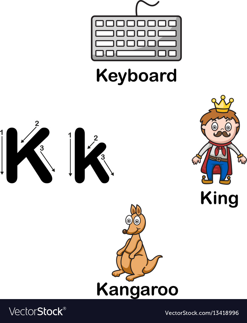 alphabet letter k keyboard king kangaroo vector image