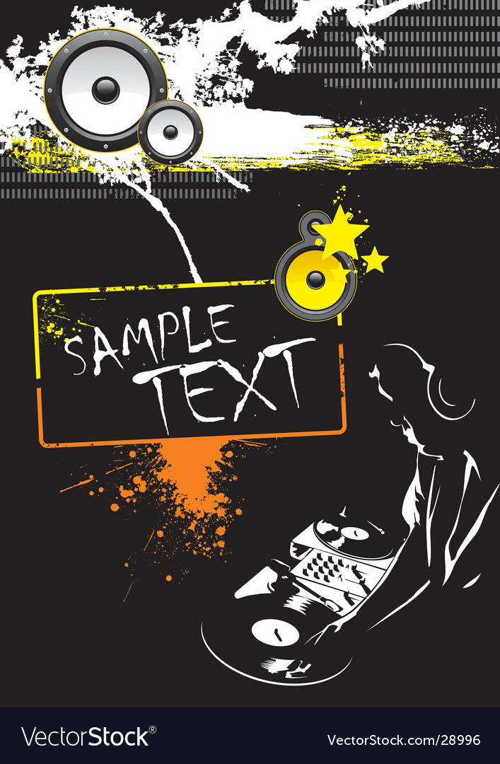 Grunge dj party poster design vector image