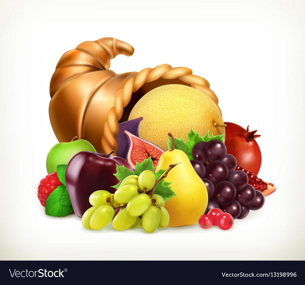 Horn of plenty Harvest fruitsCornucopia 3d icon vector image