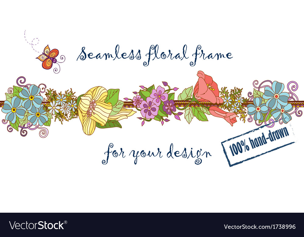 Retro seamless natural floral pattern Colorful vector image