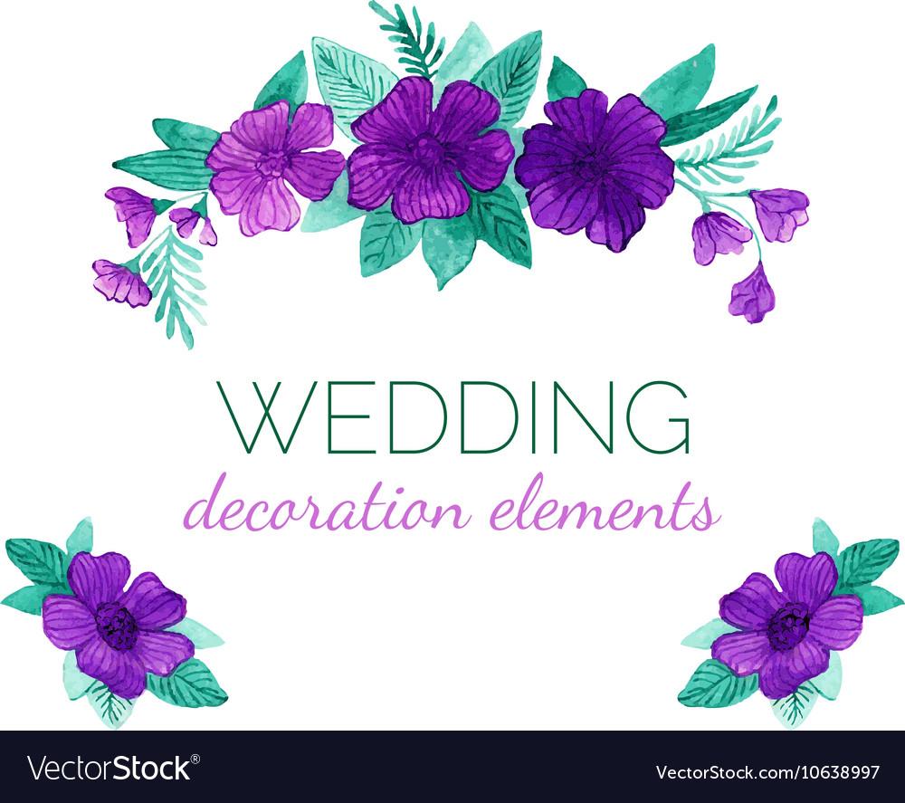 Watercolor purple flowers decor elements vector image