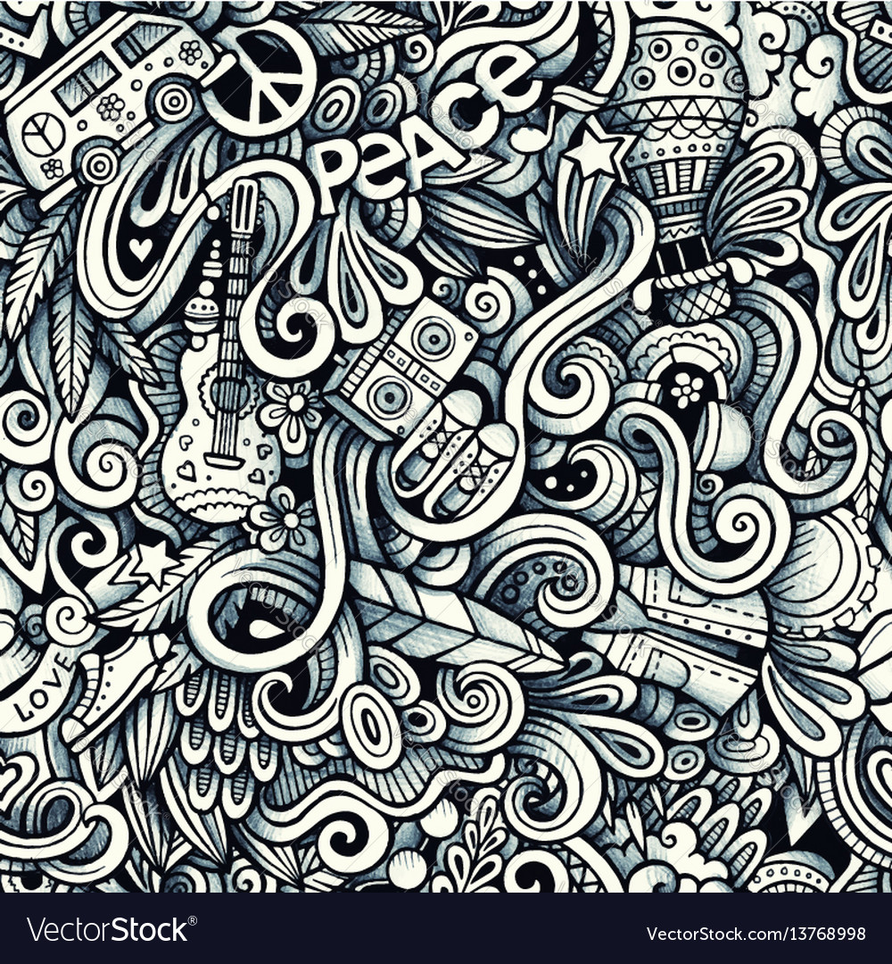 Graphic hippie hand drawn artistic doodles vector image