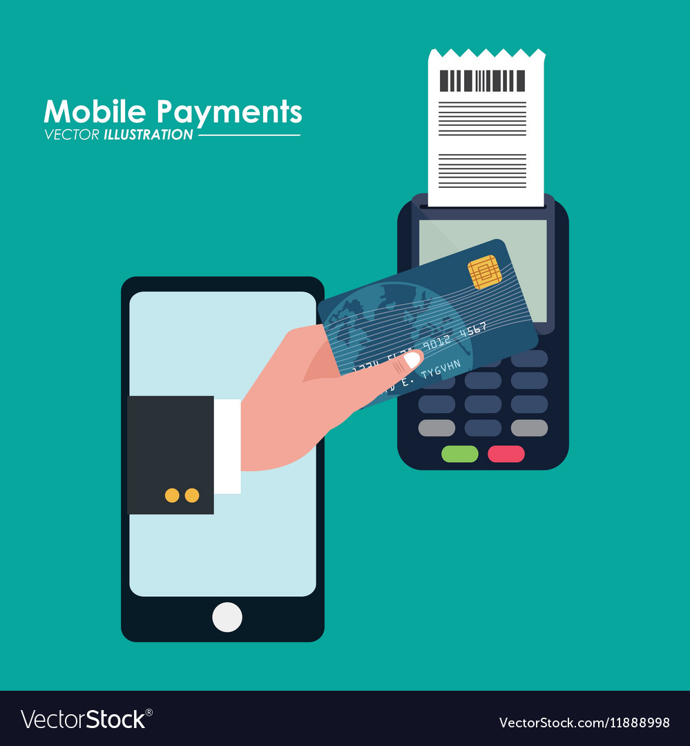 Mobile payment using smartphone connected vector image
