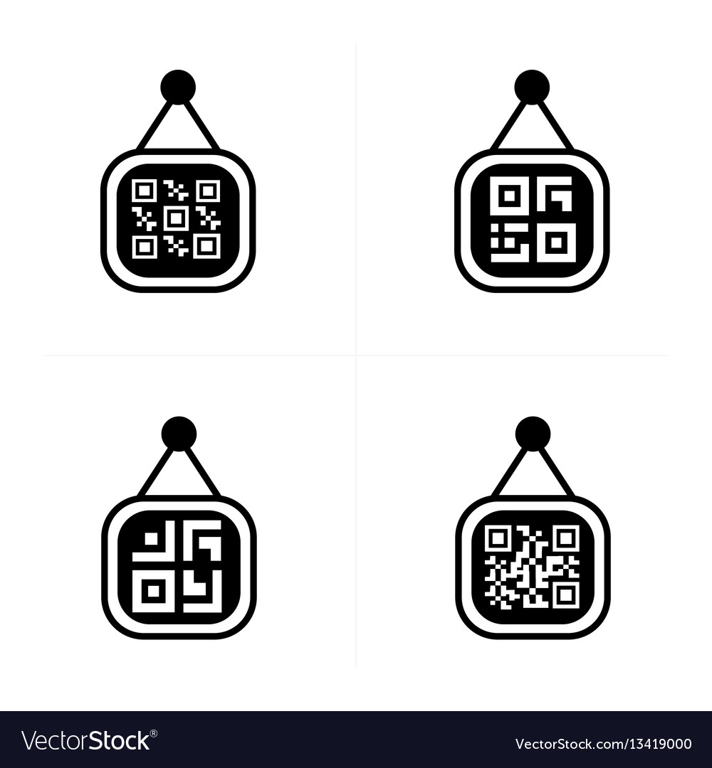 Qr code on price label icon vector image