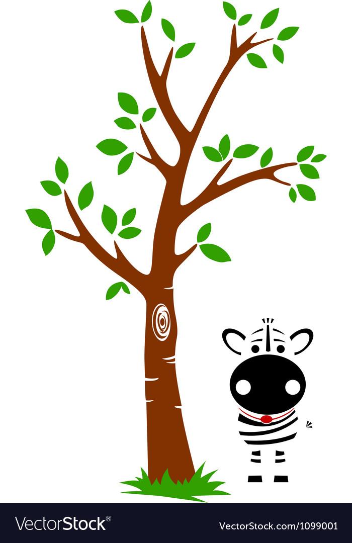 Tree and Zebra Vector Image