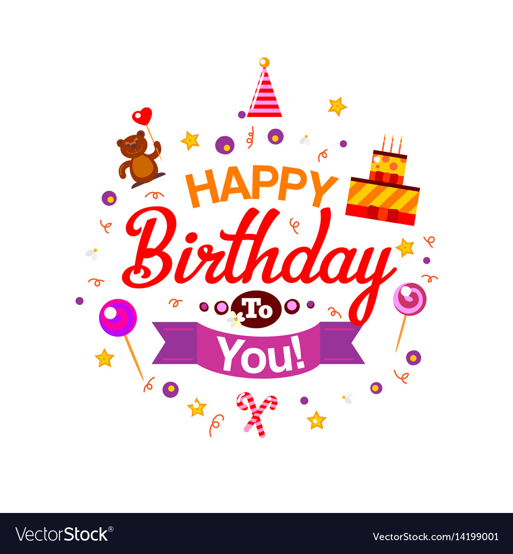 Happy birthday kids typography card royalty free vector happy birthday kids typography card vector image bookmarktalkfo Images