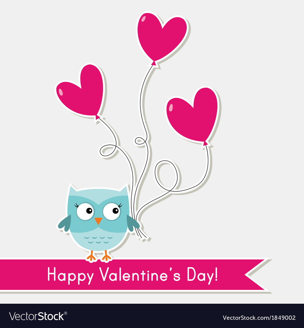 Valentine card with cute owl Royalty Free Vector Image VectorStock – Owl Valentine Card