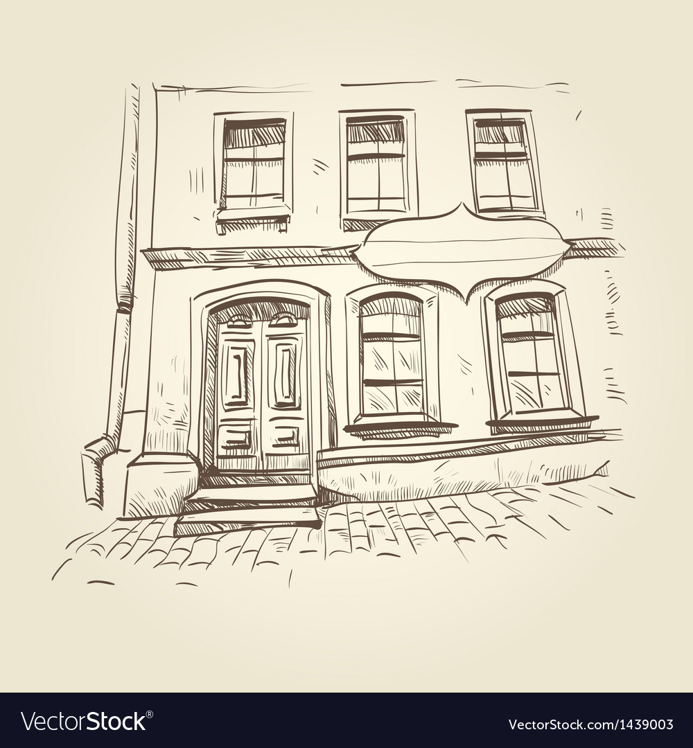 Building hand drawn vector image