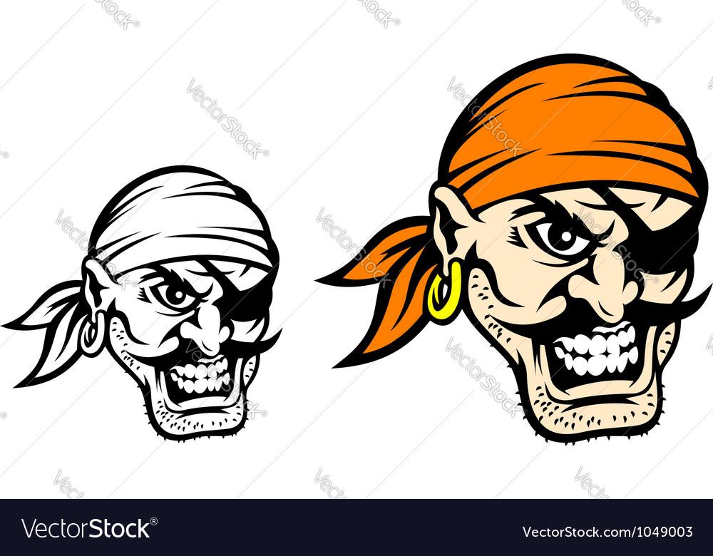 Caribbean danger pirate in cartoon style vector image