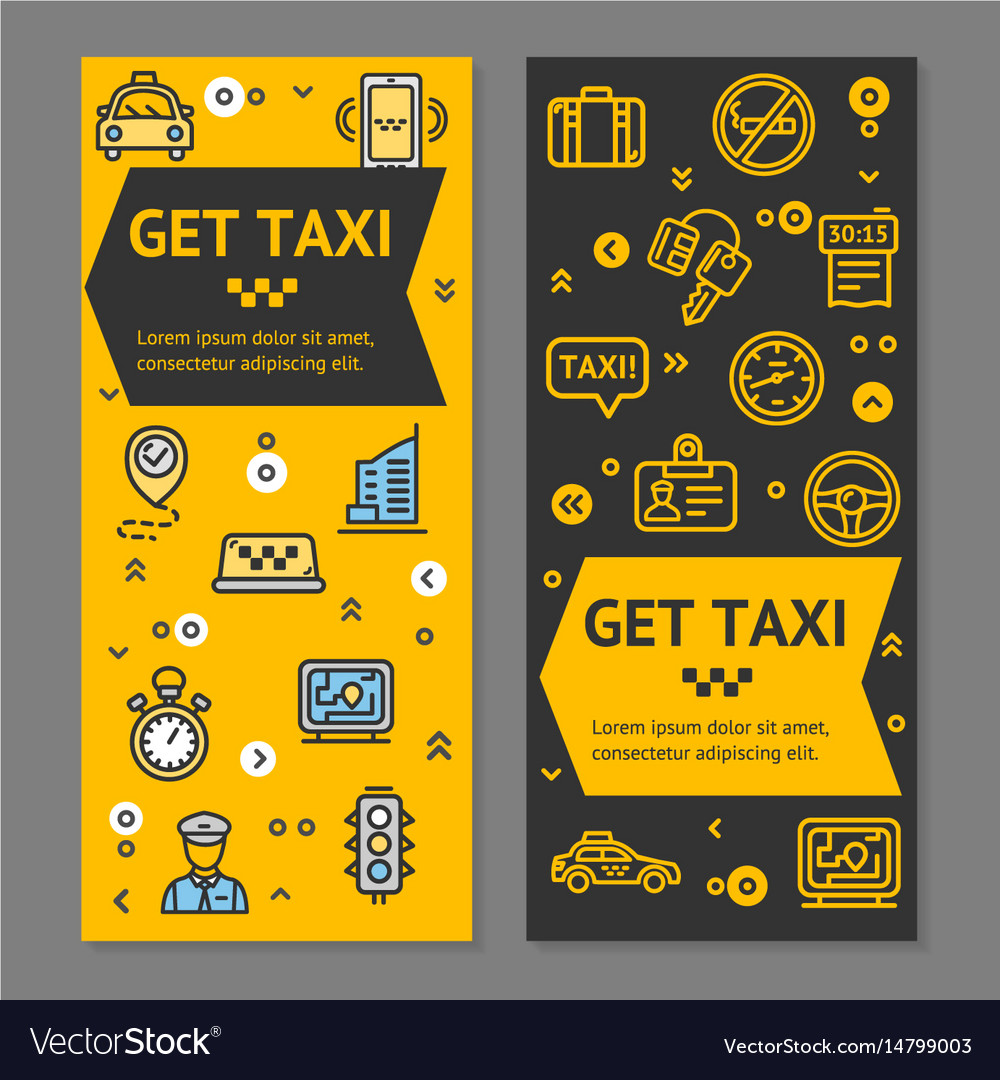 Taxi line service flyer banner posters card set vector image