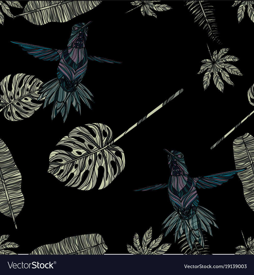 Tropical leaves and hummingbird seamless pattern vector image
