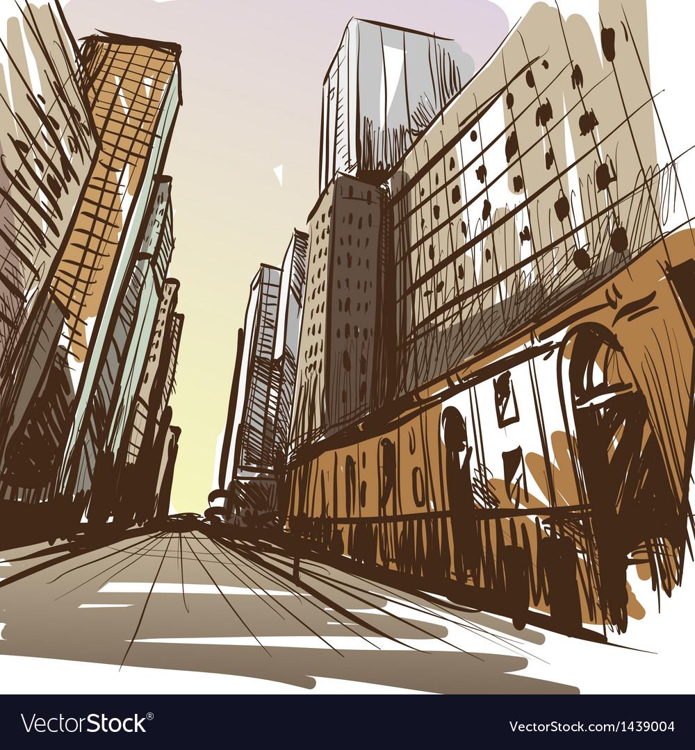 City hand drawn Vector Image