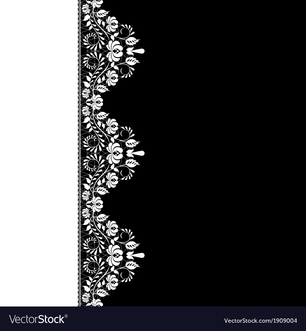 White lace border on black background vector image