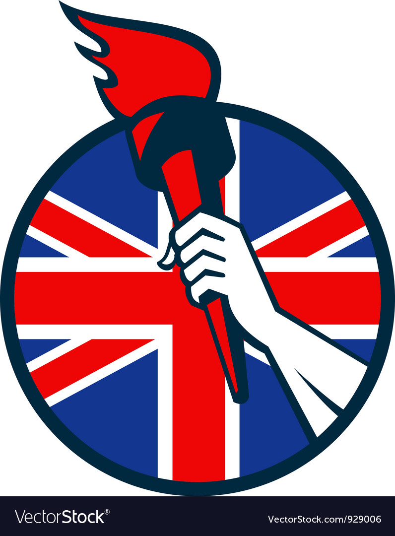 Hand Holding Flaming Torch British Flag Royalty Free Vector