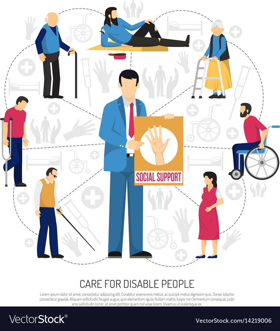 Social support for disabled people composition vector image