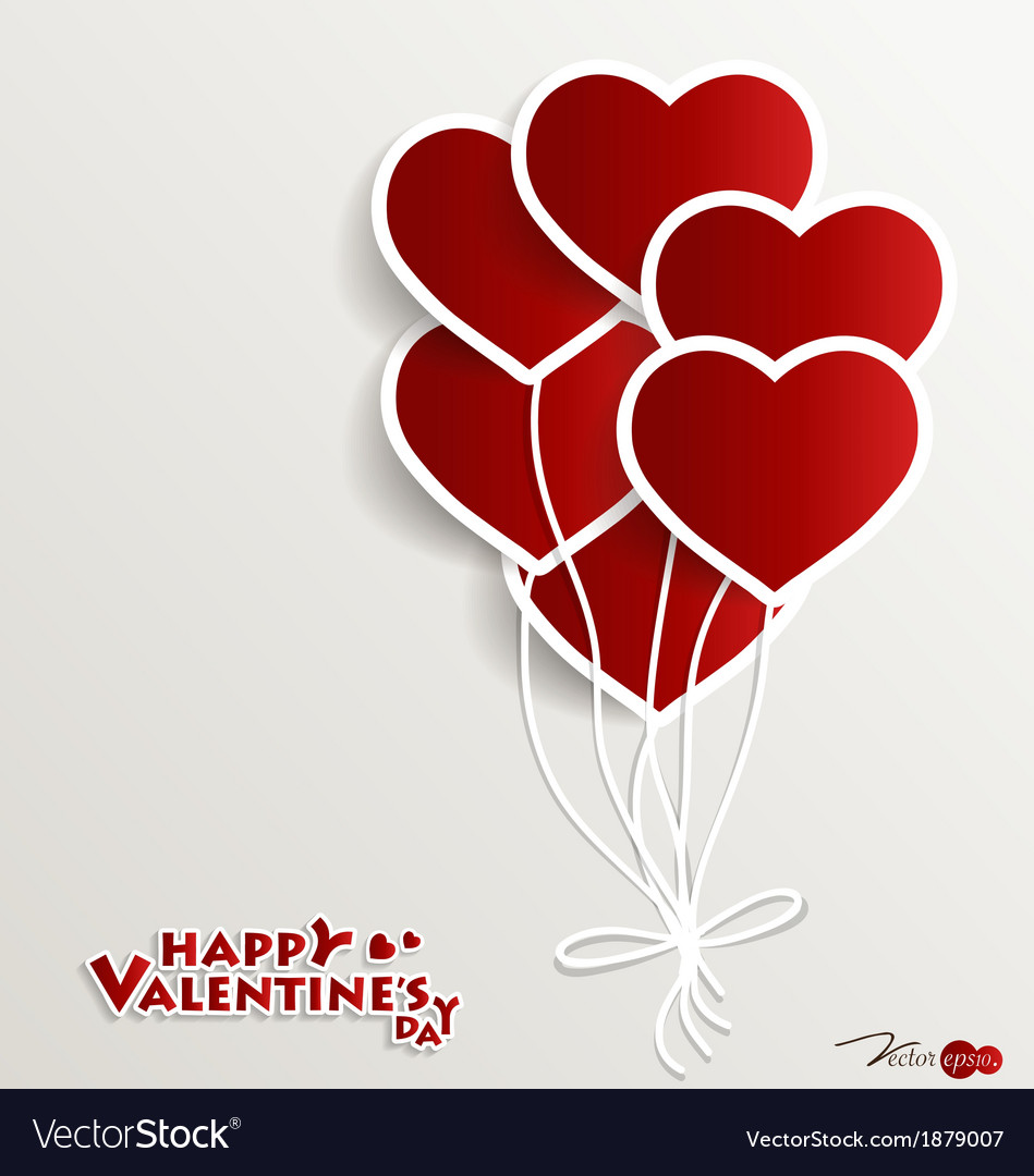 Red Heart Balloons For Valentines Day Vector Image