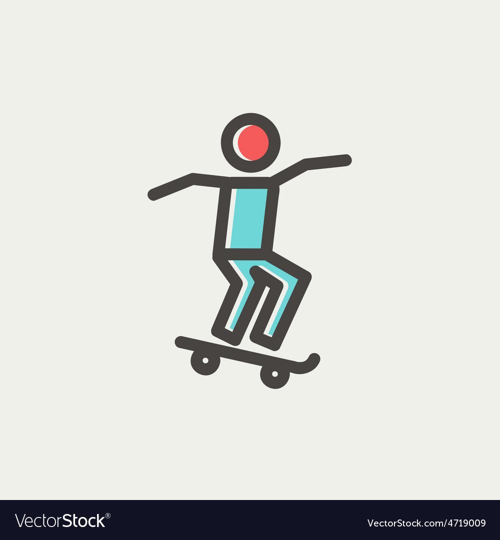 Man skateboarding thin line icon vector image