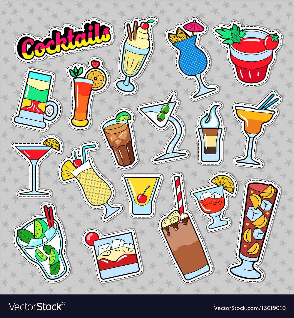 Cocktails and drinks set for stickers vector image