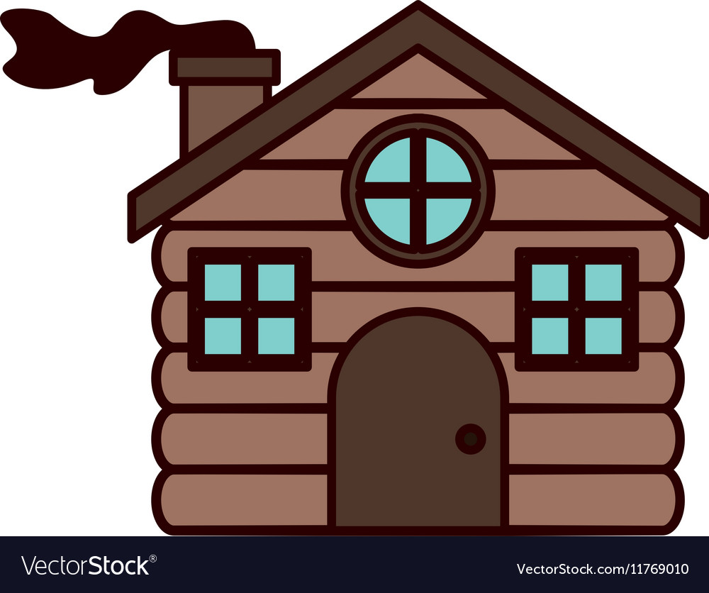 House made of wood with chimney vector image