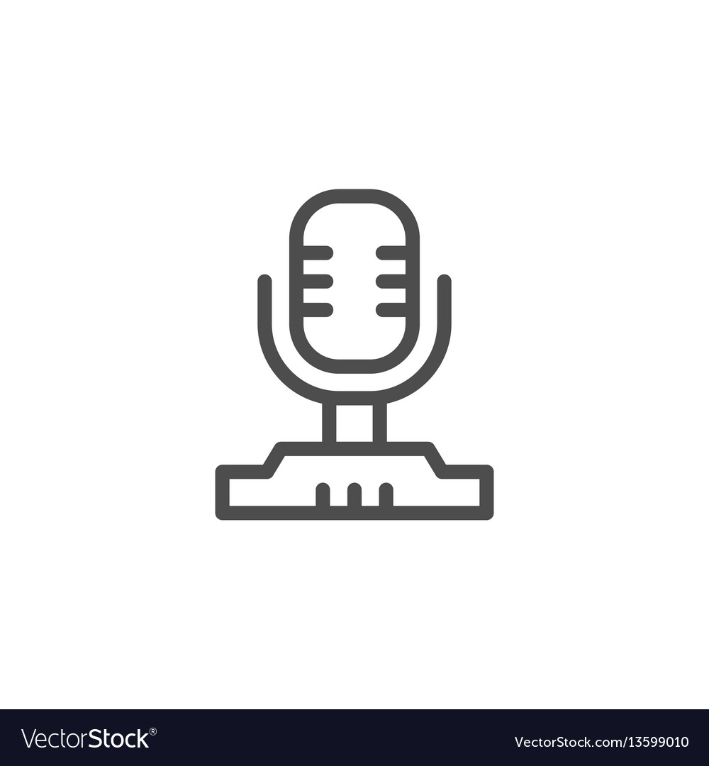 Vintage microphone line icon vector image