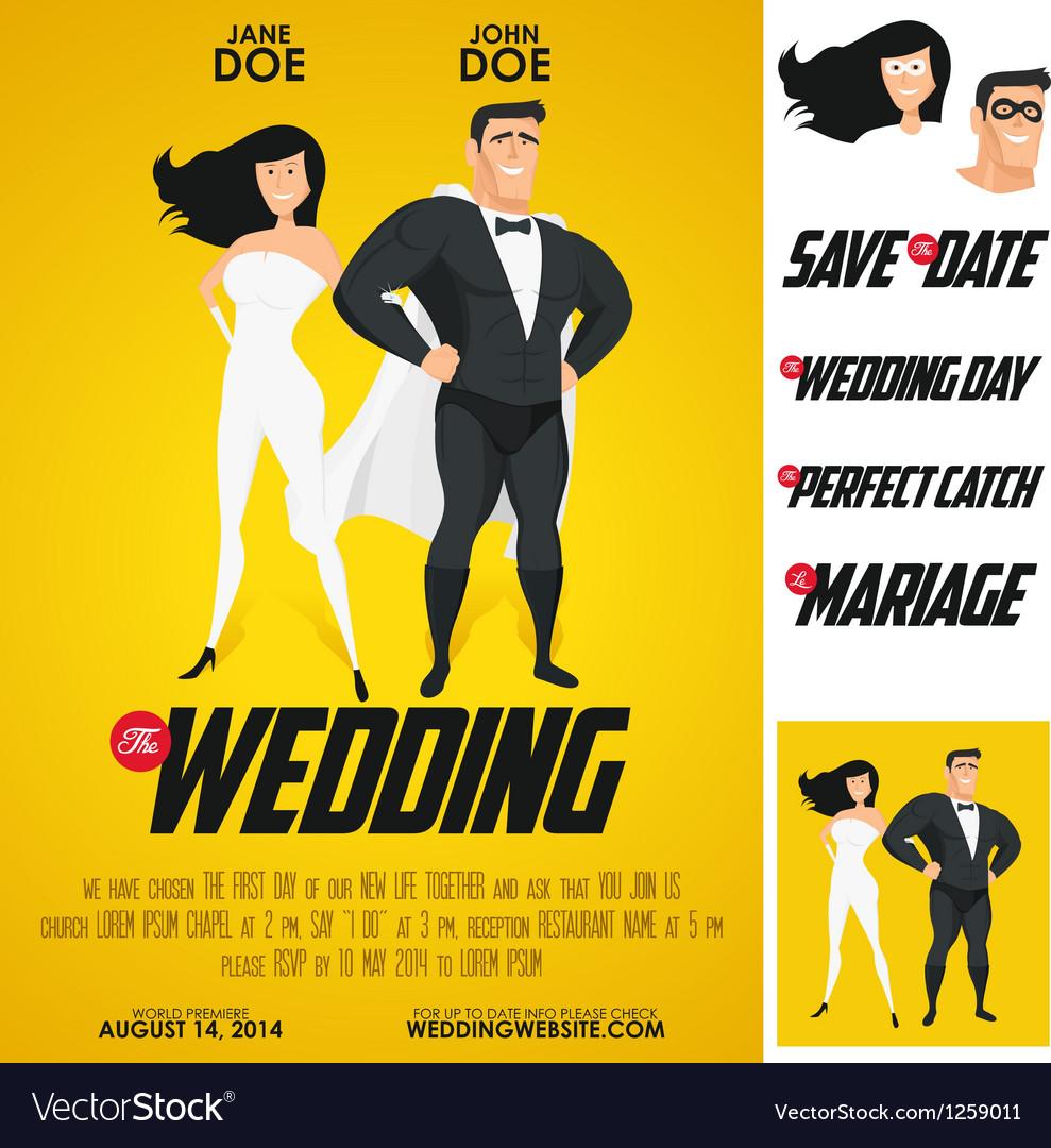 Funny super hero movie poster wedding invitation vector image