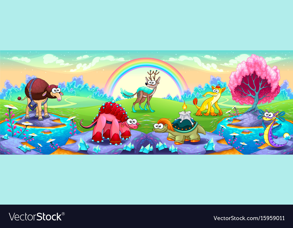 Fantasy animals in a landscape of dreams vector image