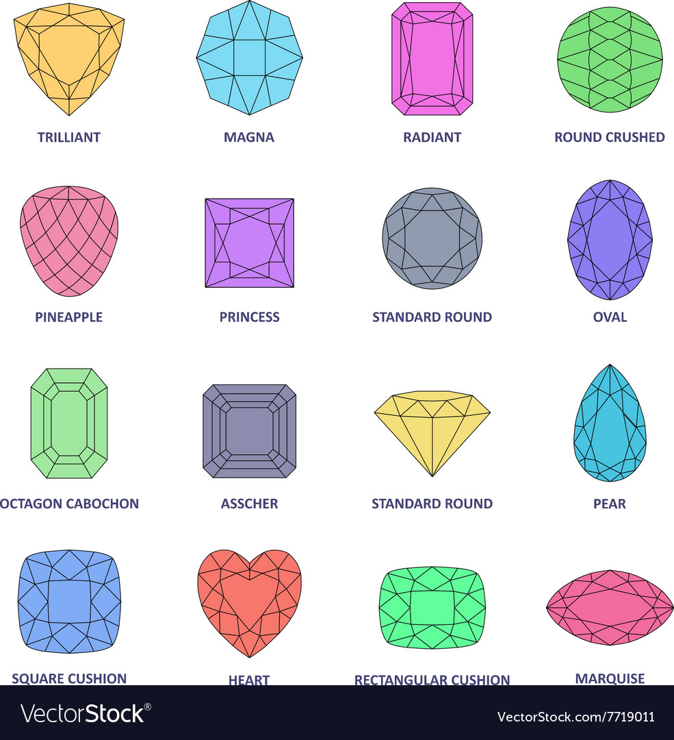 Por Colored Outline Jewelry Gems Cuts Vector Image