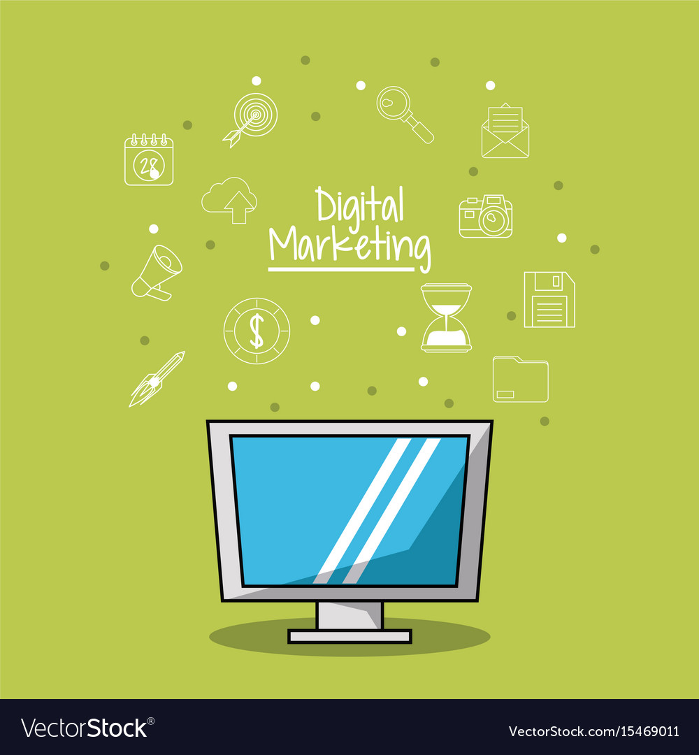 Poster of digital marketing with lcd monitor and vector image