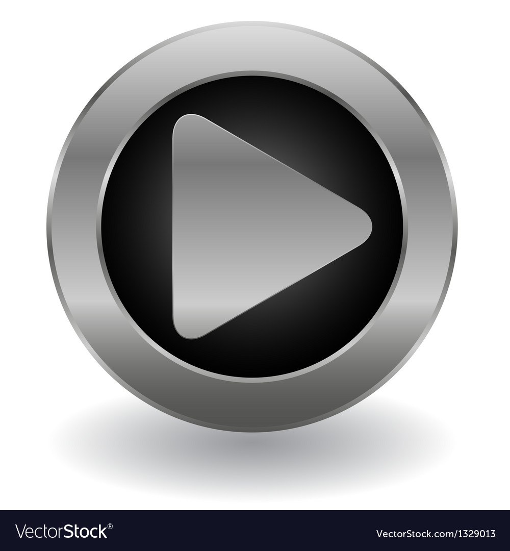 Metallic play button vector image