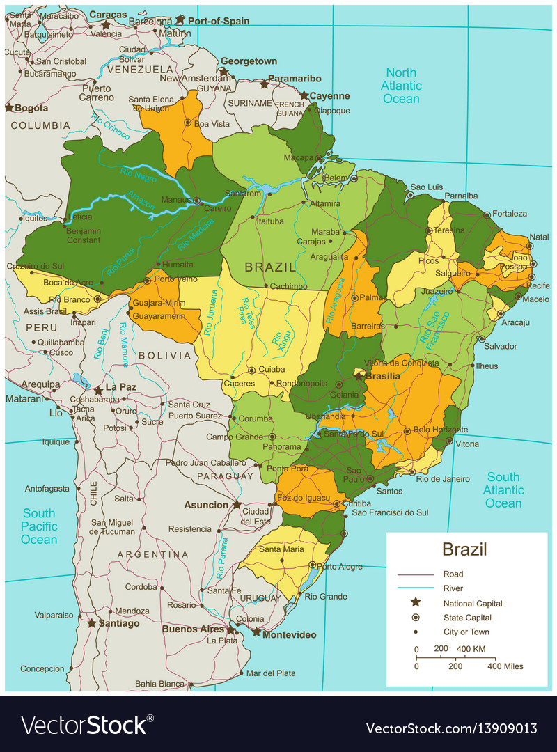 Brazil Political Map With Selectable Territories Vector Image - Brazil political map