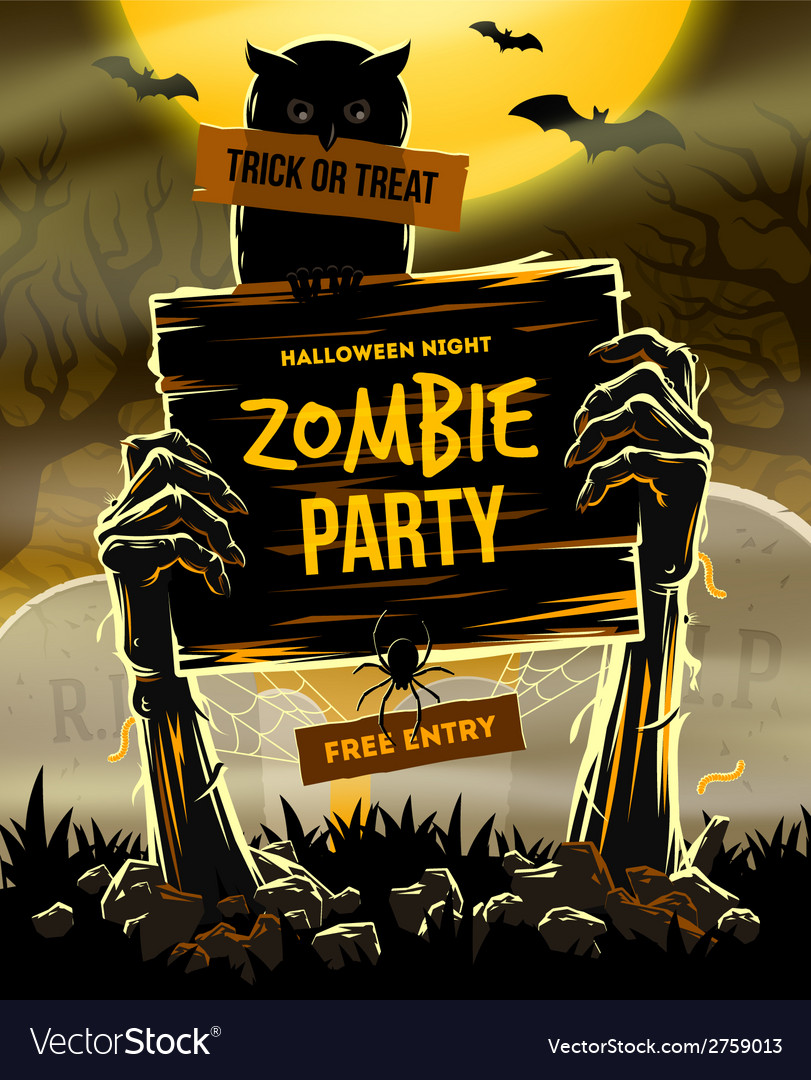 Halloween invitation to zombie party vector image