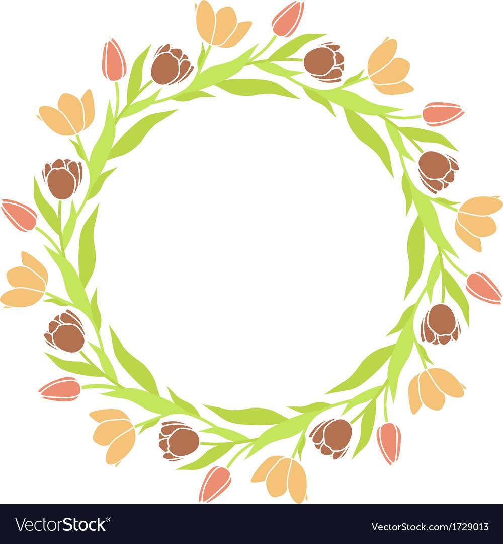 tulip wreath frame vector image - Wreath Frame