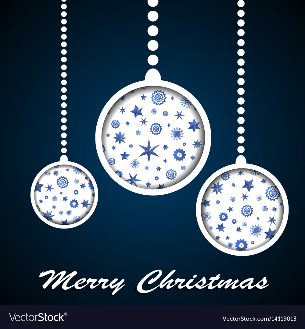 White christmas toys with stars and snowflakes vector image