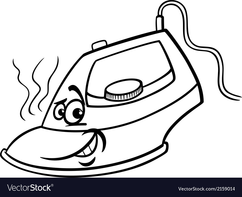 Patos Para Colorear Para Para Con Para Vector Stock Sin: Hot Iron Cartoon Coloring Page Royalty Free Vector Image