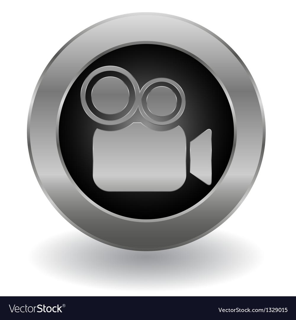 Metallic video camera button vector image