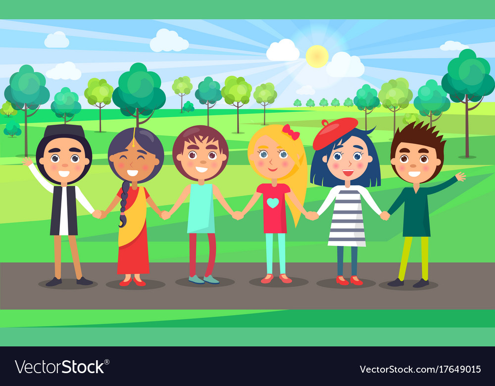 Multicultural friendly group of kids in summer vector image