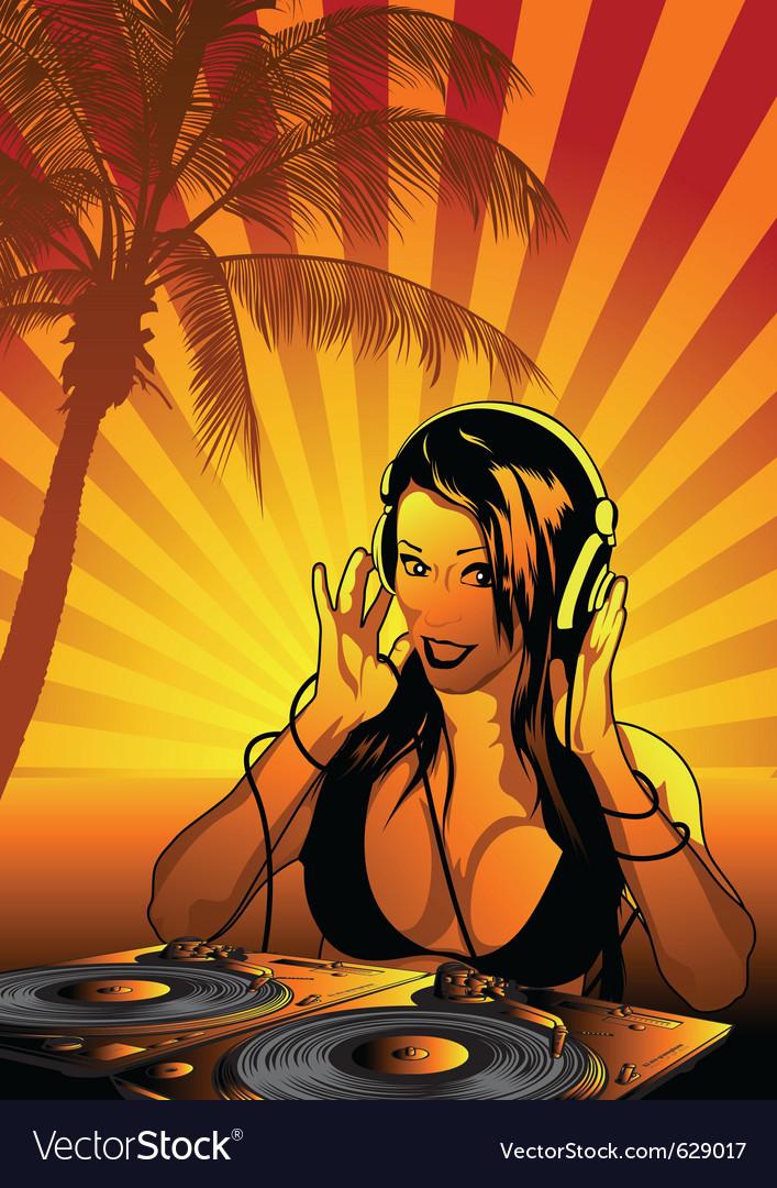 Girl dj wallpaper vector image