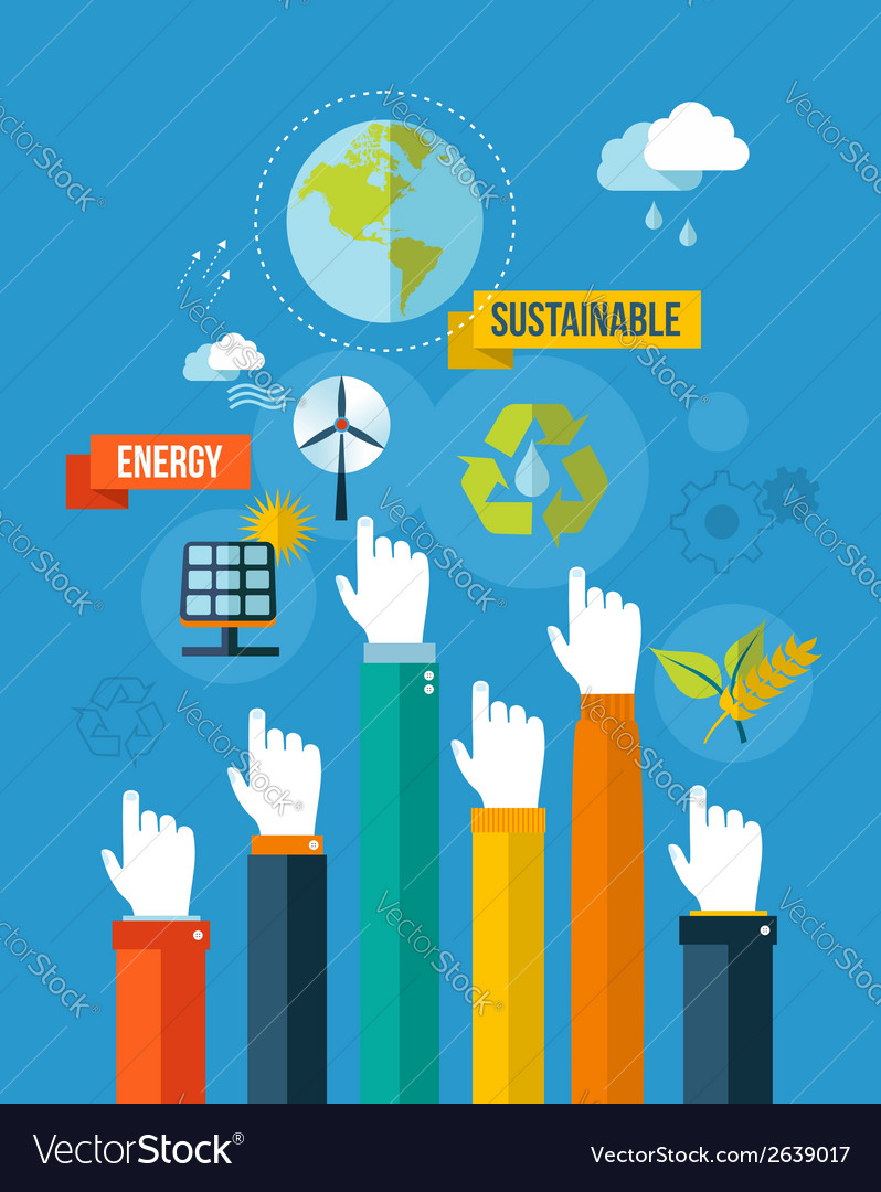 Go green sustainable energy concpet vector image