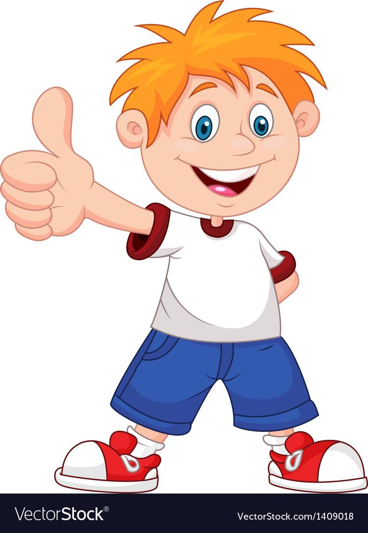 Cartoon boy giving you thumbs up Royalty Free Vector Image