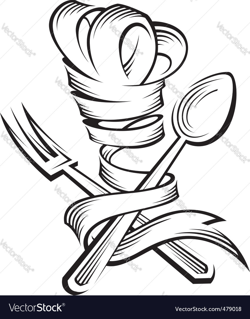 Chef hat spoon and fork vector image