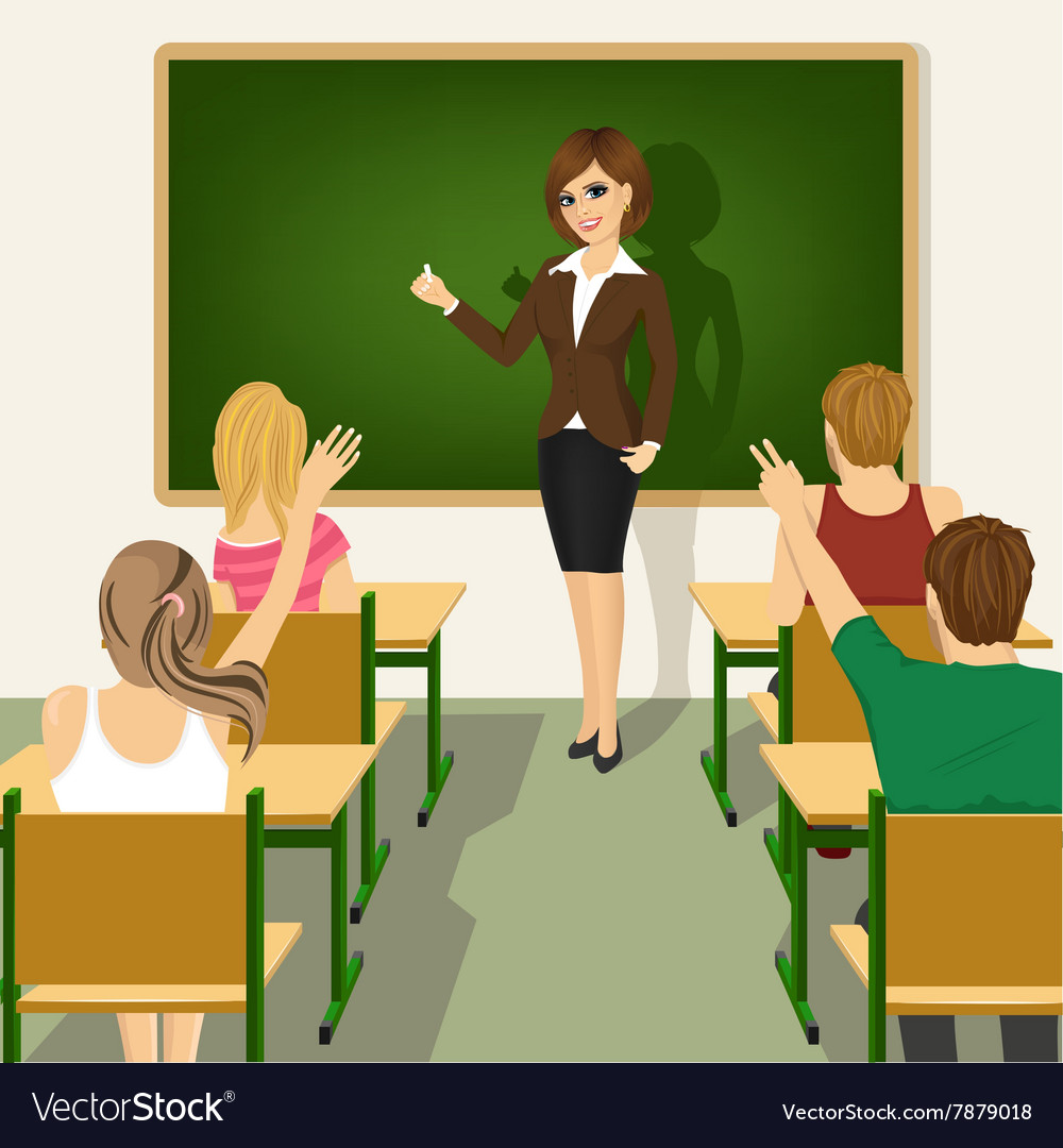 School lesson with students and teacher vector image